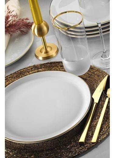 Porland Porland Modern Altın Fileli 18 Parça Yemek ve Sunum Takımı Altın